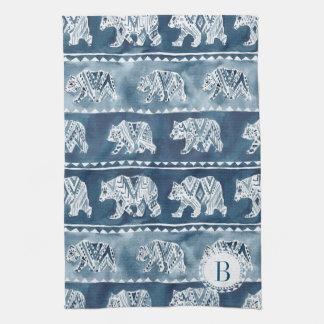 Monogram BEAR SPIRIT Navy Boho Tribal Tea Towel