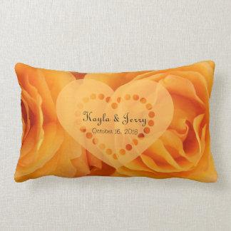 Monogram Beautiful Orange Hybrid Tea Roses Heart Pillows