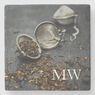 Monogram  Beautiful Tea lover design Stone Coaster