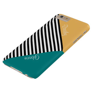 Monogram Beeswax Yellow, Teal, Black White Stripes Barely There iPhone 6 Plus Case