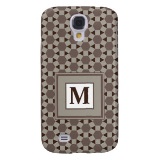 Monogram Beige and Brown Tessellation Pattern Galaxy S4 Covers