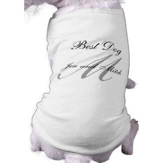 Monogram Best Dog Wedding Shirt Grey and White Sleeveless Dog Shirt