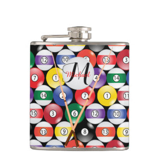 Monogram Billiard Pool Balls Hip Flask