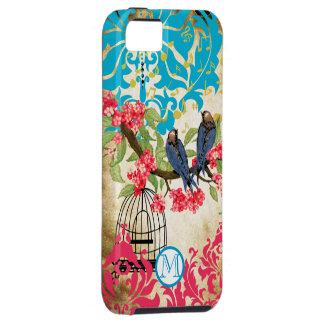 Monogram Birdcage Bird Damask  iPhone Case