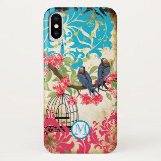 Monogram Birdcage Bird Damask  iPhone Case