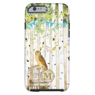 Monogram Birdcage Vintage Owl Birch Tree iPhone Tough iPhone 6 Case