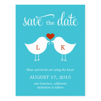 Monogram Birds Save The Date Card Postcard