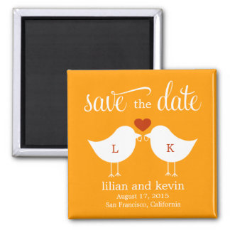 Monogram Birds Save The Date Magnet