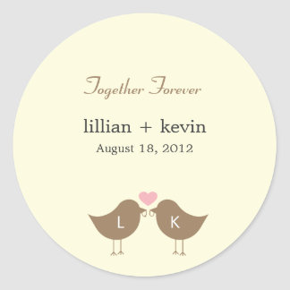 Monogram Birds Wedding Favor Sticker - Latte