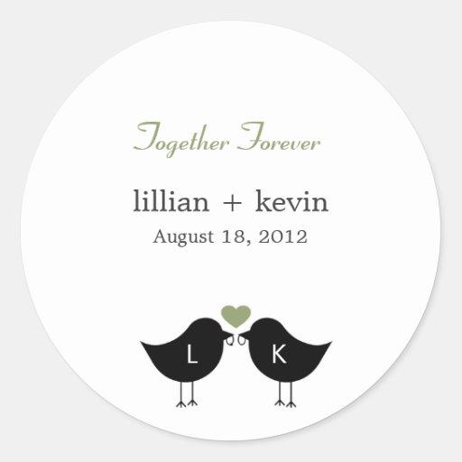 Monogram Birds Wedding Favor Sticker - Sage Round Sticker