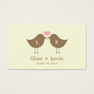 Monogram Birds Wedding Favor Tags - Latte Business Card