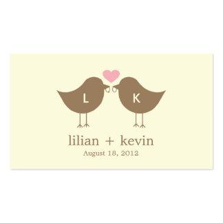 Monogram Birds Wedding Favor Tags - Latte Pack Of Standard Business Cards
