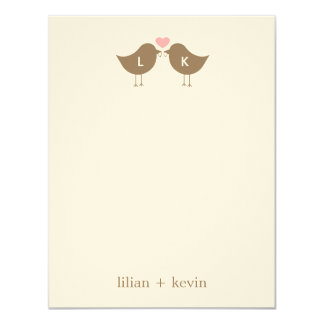 Monogram Birds Wedding Flat Thank You Card - Latte