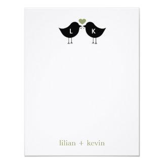 Monogram Birds Wedding Flat Thank You Card - Sage 11 Cm X 14 Cm Invitation Card