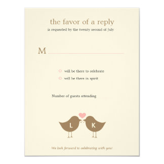 "Monogram Birds Wedding RSVP/Response Card - Latte 4.25"" X 5.5"" Invitation Card"