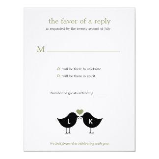Monogram Birds Wedding RSVP/Response Card - Sage 11 Cm X 14 Cm Invitation Card