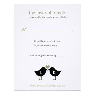 Monogram Birds Wedding RSVP Response Card - Sage Invites