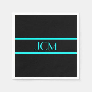 Monogram Black and Aqua Blue Stripe Paper Serviettes