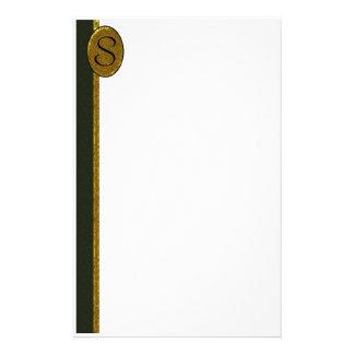 Monogram Black and Gold Border Customized Stationery