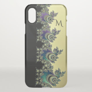 Monogram Black and Gold Fractal iPhone X Case