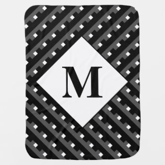 Monogram Black and Grey Angled lines Buggy Blankets
