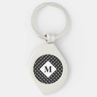 Monogram Black and Grey Angled lines Silver-Colored Swirl Key Ring