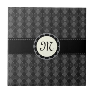 Monogram black and grey argyles tile/gift box small square tile
