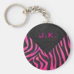Monogram Black and Hot Pink Zebra Design Basic Round Button Key Ring