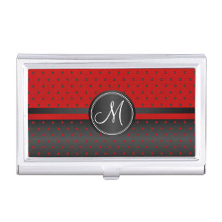 Monogram Black and Red Polka Dots Business Card Holder