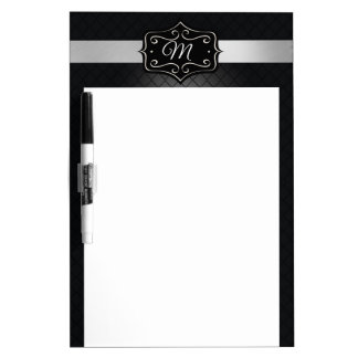 Monogram, Black and Silver. Dry Erase Board