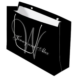 Monogram Black and Silver Wedding Large Gift Bag