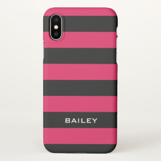 Monogram. Black and Some Kind of Pink Stripes. iPhone X Case
