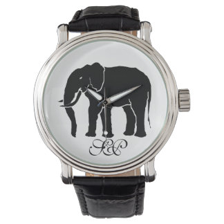 Monogram Black and White African Elephant Emblem Watch