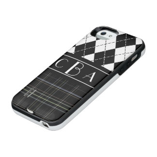 Monogram Black and White Argyle and Plaid iPhone SE/5/5s Battery Case