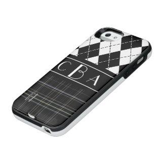 Monogram Black and White Argyle and Plaid iPhone SE/5/5s Battery Case