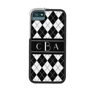 Monogram Black and White Argyle iPhone 5 Covers