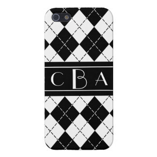 Monogram Black and White Argyle Cover For iPhone 5