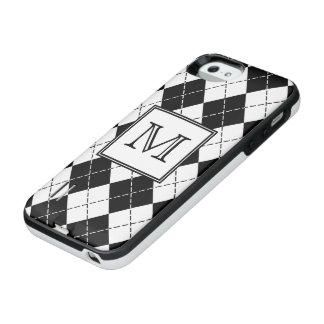 Monogram Black and White Argyle iPhone SE/5/5s Battery Case