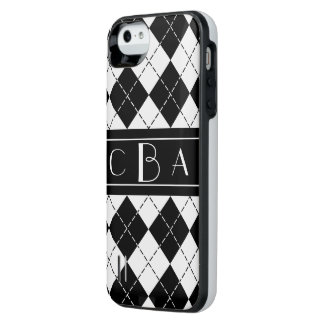 Monogram Black and White Argyle iPhone SE/5/5s Battery Case