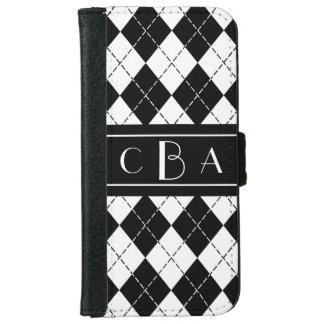 Monogram Black and White Argyle iPhone 6 Wallet Case