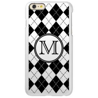 Monogram Black and White Argyle Incipio Feather® Shine iPhone 6 Plus Case