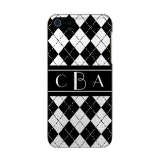 Monogram Black and White Argyle Incipio Feather® Shine iPhone 5 Case
