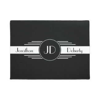 Monogram Black and White Art Deco Doormat