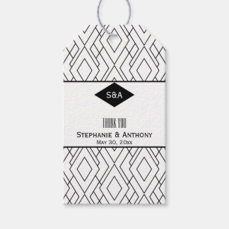 Monogram Black and White Art Deco Thank You Gift Tags