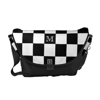 Monogram: Black And White Checkered Bag Commuter Bags
