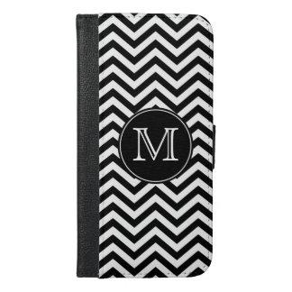 Monogram Black and White Chevron iPhone 6/6s Plus Wallet Case
