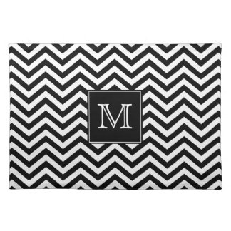 Monogram Black and White Chevron Placemat