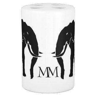 Monogram Black and White Emblem African Elephants Soap Dispenser And Toothbrush Holder