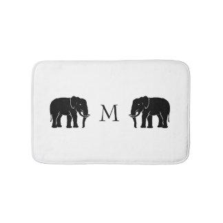 Monogram Black and White Emblematic Elephants Bath Mat