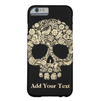 Monogram Black and White Floral Sugar Skull Barely There iPhone 6 Case